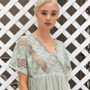 POL Clothing Green Lace Babydoll Tunic